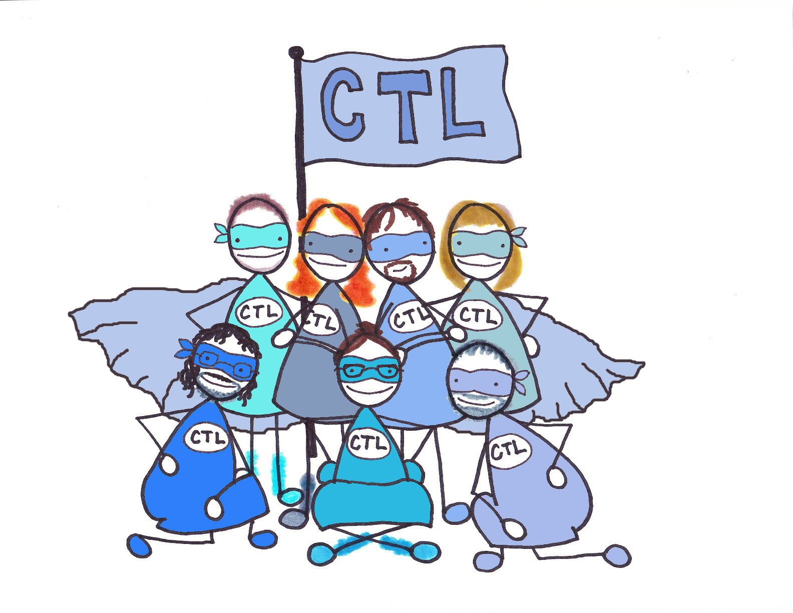 Centre for Teaching and Learning team depicted as superheroes wearing capes and masks